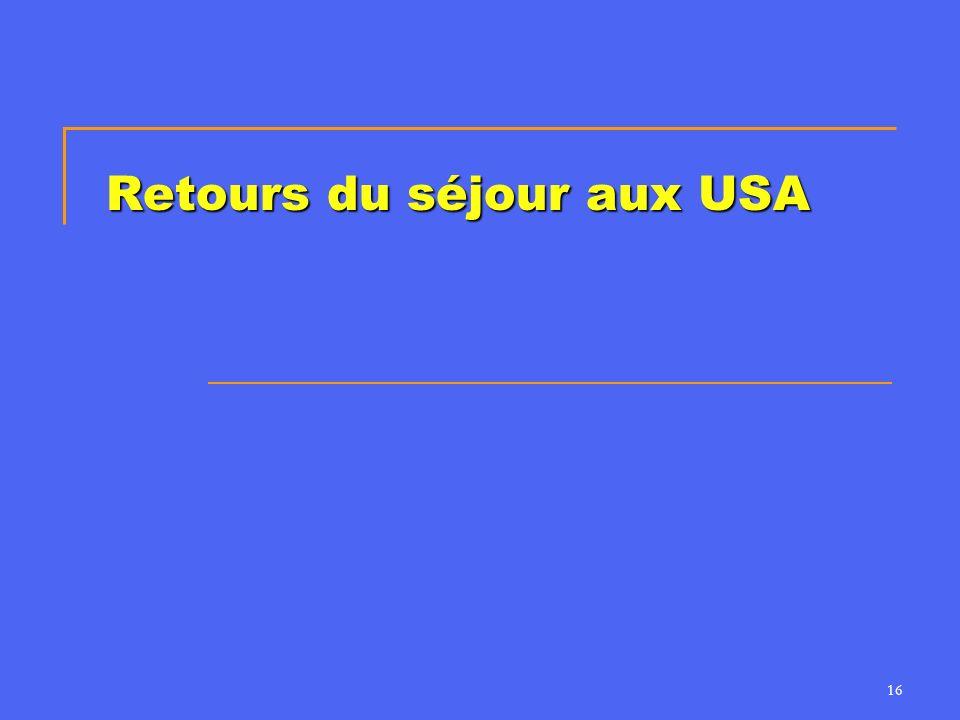 16 Retours du séjour aux USA