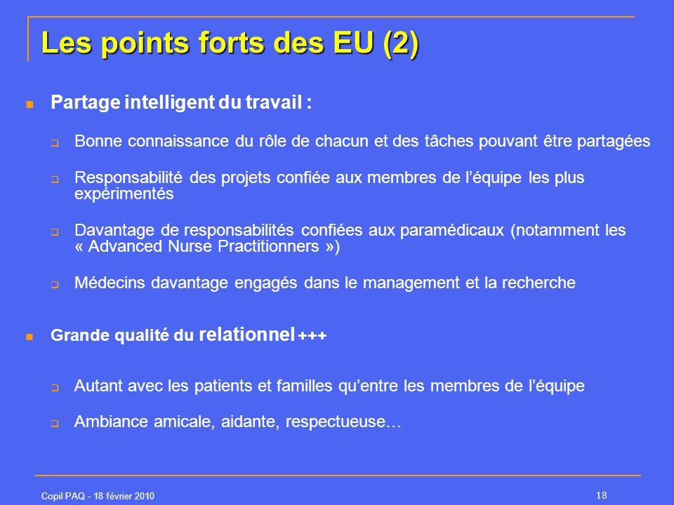 Copil PAQ - 18 février 2010 18 Les points forts des EU (2) Partage intelligent du travail : Bonne connaissance du rôle de chacun et des tâches pouvant