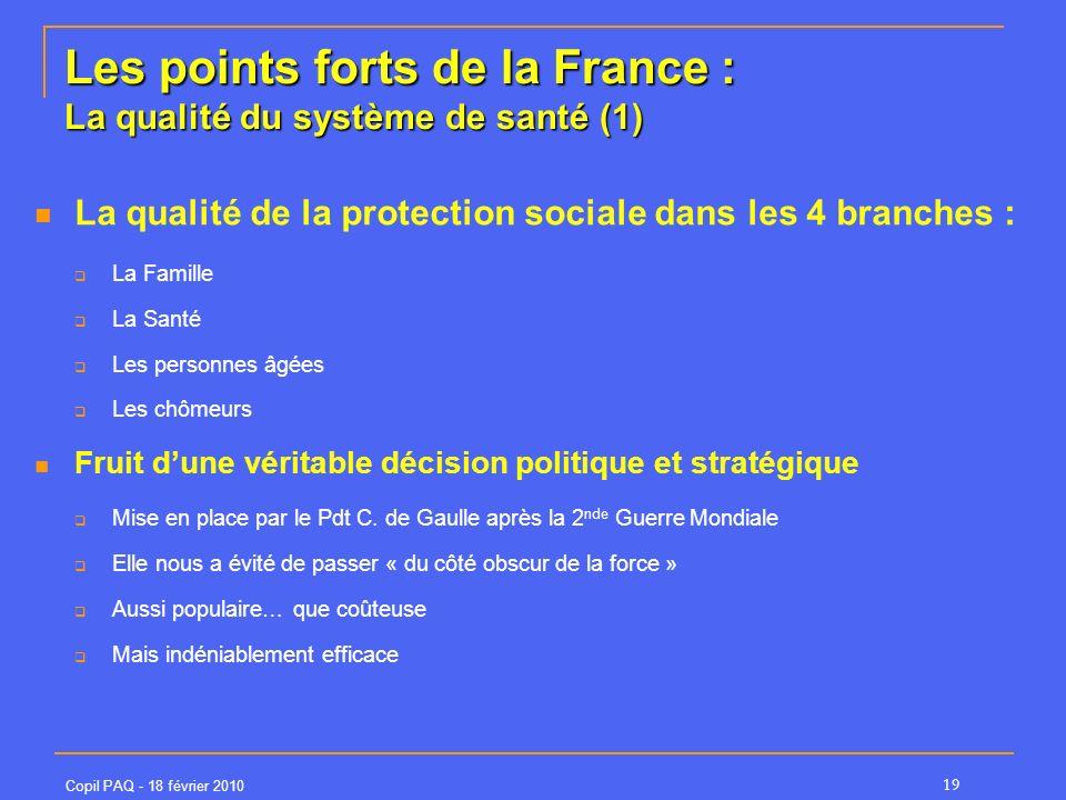 Copil PAQ - 18 février 2010 19 Les points forts de la France : La qualité du système de santé (1) La qualité de la protection sociale dans les 4 branc
