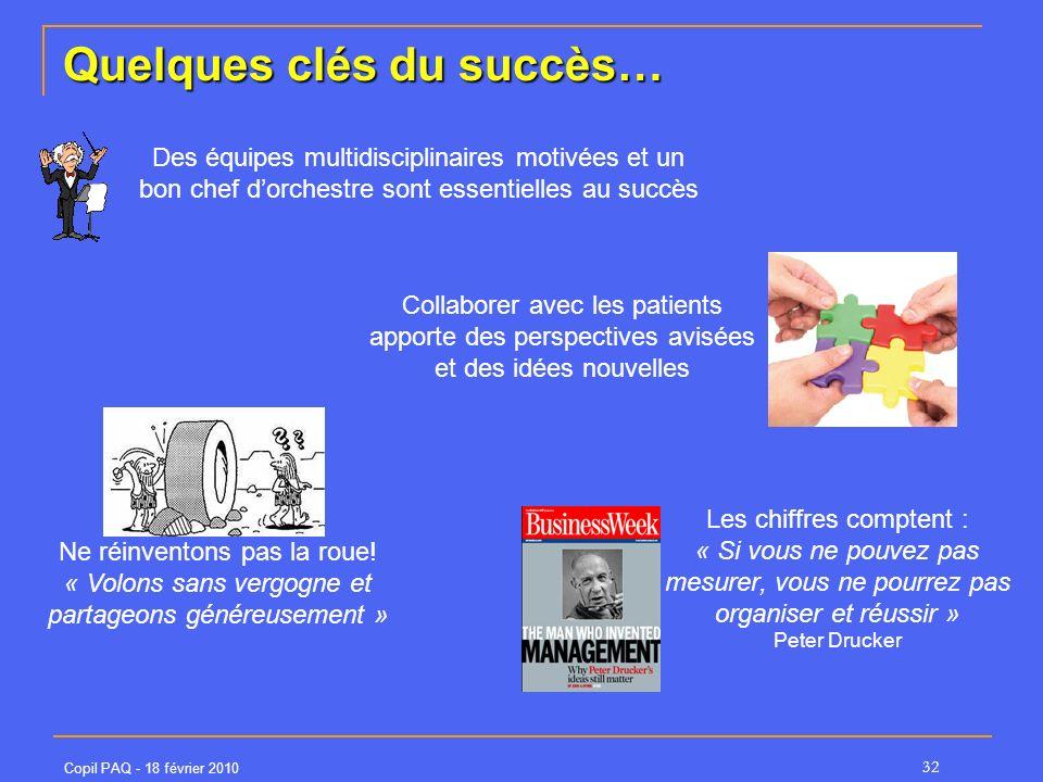 Copil PAQ - 18 février 2010 32 Les chiffres comptent : « Si vous ne pouvez pas mesurer, vous ne pourrez pas organiser et réussir » Peter Drucker Quelq