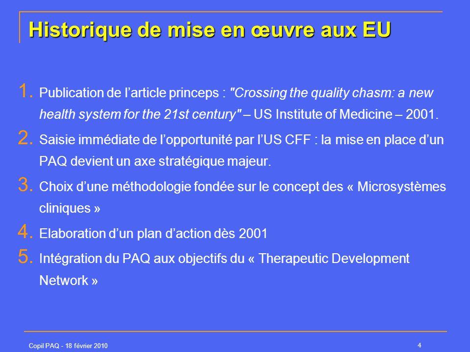 Copil PAQ - 18 février 2010 4 Historique de mise en œuvre aux EU 1. Publication de larticle princeps :
