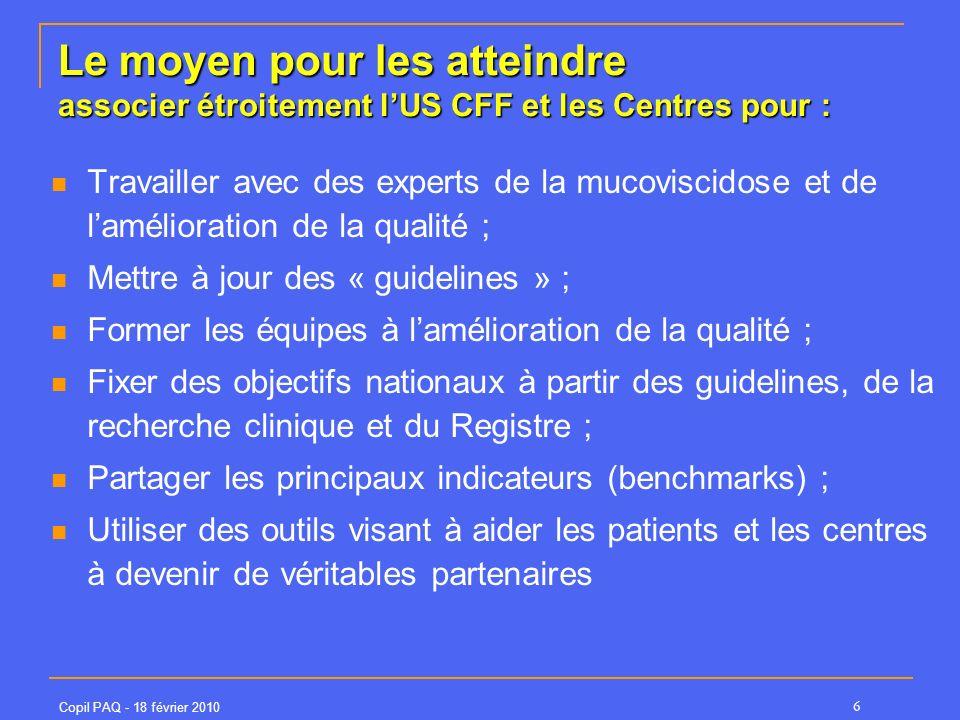 Copil PAQ - 18 février 2010 6 Le moyen pour les atteindre associer étroitement lUS CFF et les Centres pour : Travailler avec des experts de la mucoviscidose et de lamélioration de la qualité ; Mettre à jour des « guidelines » ; Former les équipes à lamélioration de la qualité ; Fixer des objectifs nationaux à partir des guidelines, de la recherche clinique et du Registre ; Partager les principaux indicateurs (benchmarks) ; Utiliser des outils visant à aider les patients et les centres à devenir de véritables partenaires