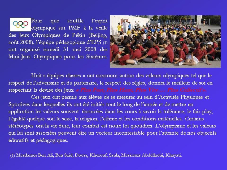 Huit « équipes-classes » ont concouru autour des valeurs olympiques tel que le respect de ladversaire et du partenaire, le respect des règles, donner