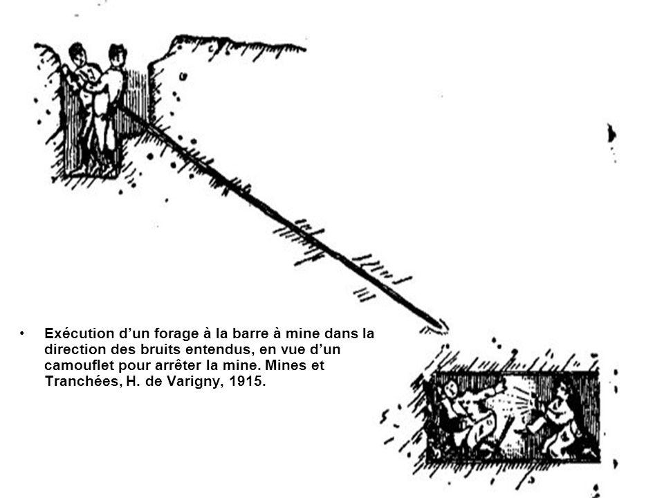 Exécution dun forage à la barre à mine dans la direction des bruits entendus, en vue dun camouflet pour arrêter la mine.