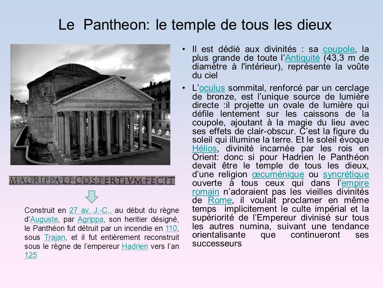 Le Pantheon: le temple de tous les dieux Il est dédié aux divinités : sa coupole, la plus grande de toute lAntiquité (43,3 m de diamètre à l'intérieur
