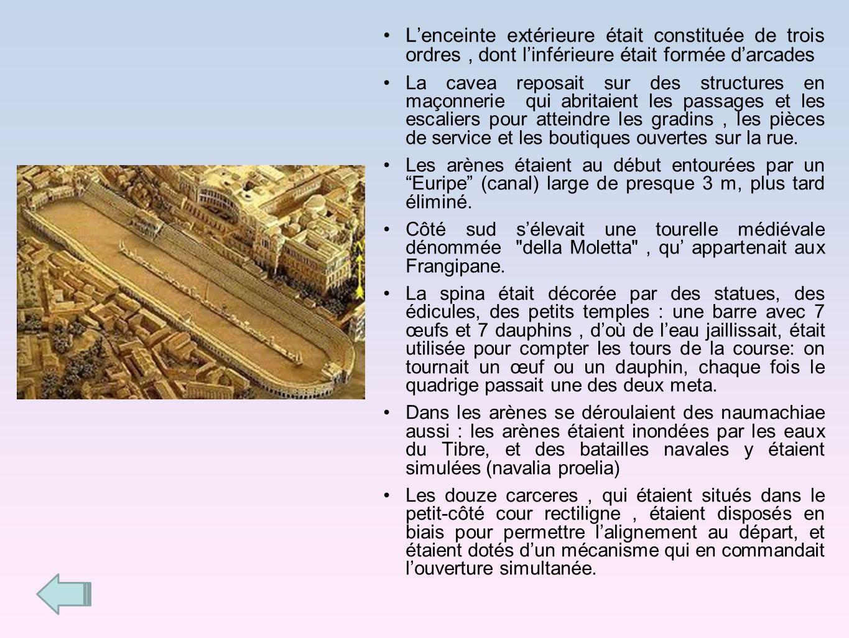 Lenceinte extérieure était constituée de trois ordres, dont linférieure était formée darcades La cavea reposait sur des structures en maçonnerie qui a