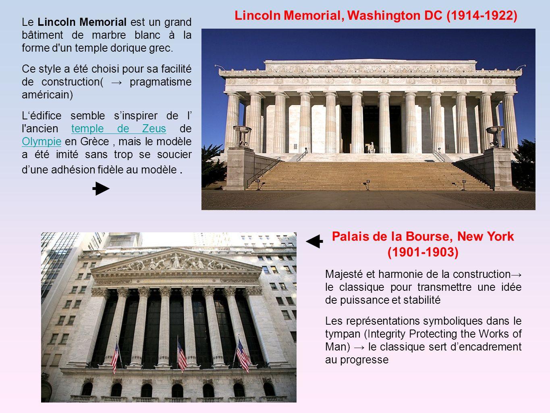 Le Lincoln Memorial est un grand bâtiment de marbre blanc à la forme d'un temple dorique grec. Ce style a été choisi pour sa facilité de construction(