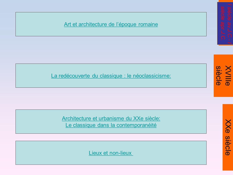 Architecture et urbanisme du XXe siècle: Le classique dans la contemporanéité Art et architecture de lépoque romaine La redécouverte du classique : le