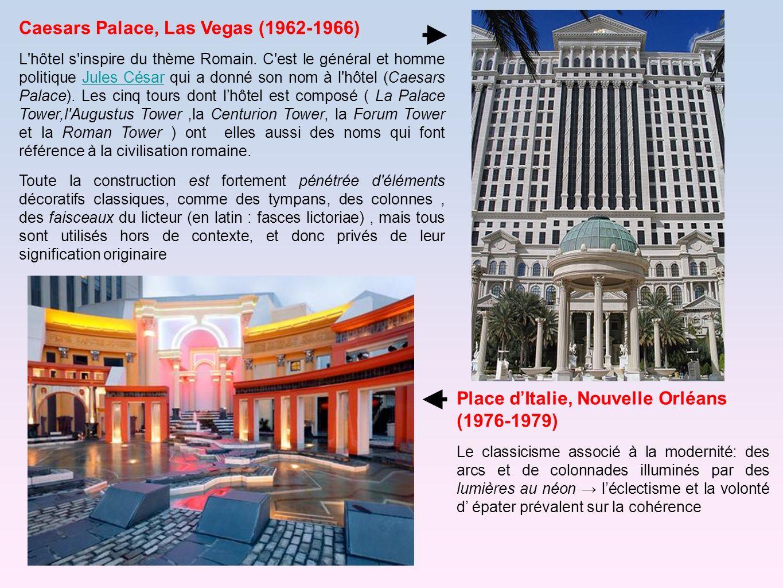 Caesars Palace, Las Vegas (1962-1966) L'hôtel s'inspire du thème Romain. C'est le général et homme politique Jules César qui a donné son nom à l'hôtel