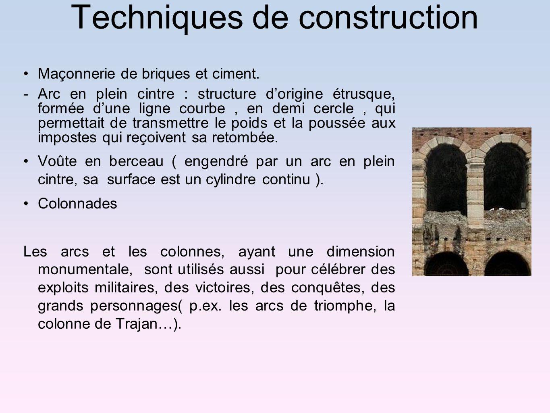 Techniques de construction Maçonnerie de briques et ciment. -Arc en plein cintre : structure dorigine étrusque, formée dune ligne courbe, en demi cerc