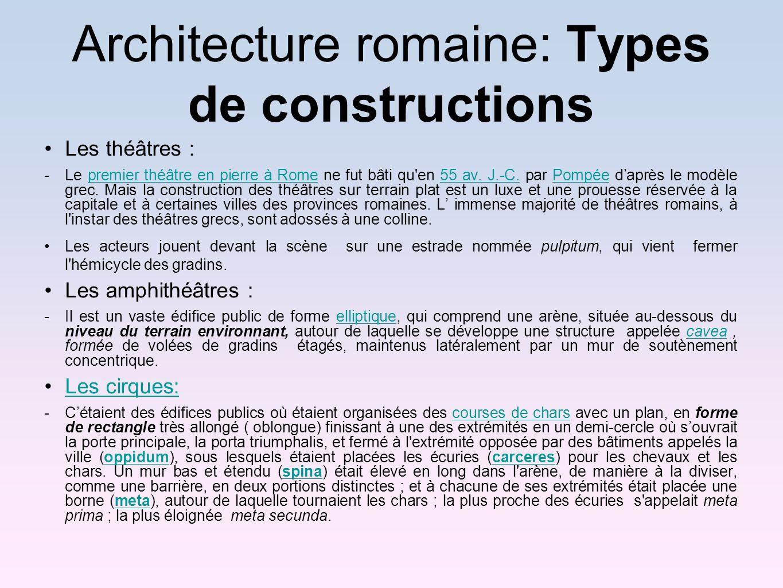 Architecture romaine: Types de constructions Les théâtres : -Le premier théâtre en pierre à Rome ne fut bâti qu'en 55 av. J.-C. par Pompée daprès le m