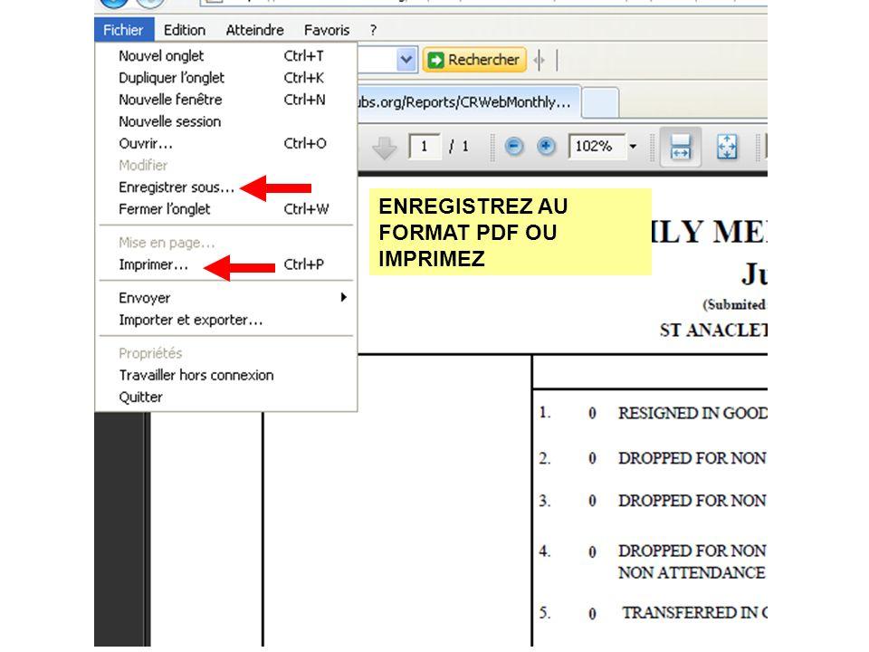 ENREGISTREZ AU FORMAT PDF OU IMPRIMEZ