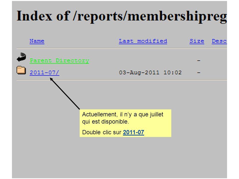 Actuellement, il ny a que juillet qui est disponible. Double clic sur 2011-07