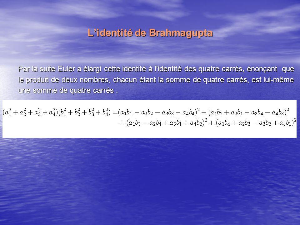 Lidentité de Brahmagupta Par la suite Euler a élargi cette identité à lidentité des quatre carrés, énonçant que le produit de deux nombres, chacun éta
