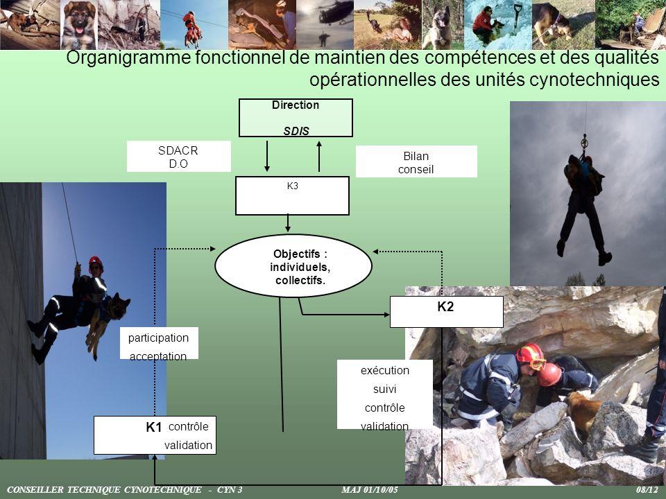 Organigramme fonctionnel de maintien des compétences et des qualités opérationnelles des unités cynotechniques Direction SDIS Bilan conseil SDACR D.O