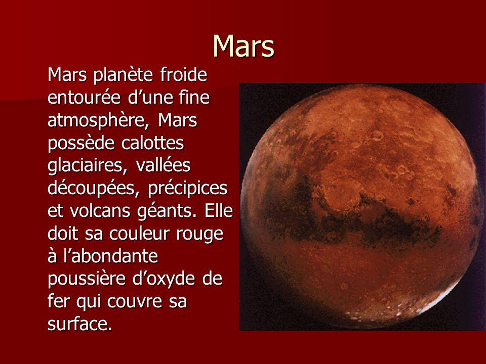 Mars Mars planète froide entourée dune fine atmosphère, Mars possède calottes glaciaires, vallées découpées, précipices et volcans géants. Elle doit s