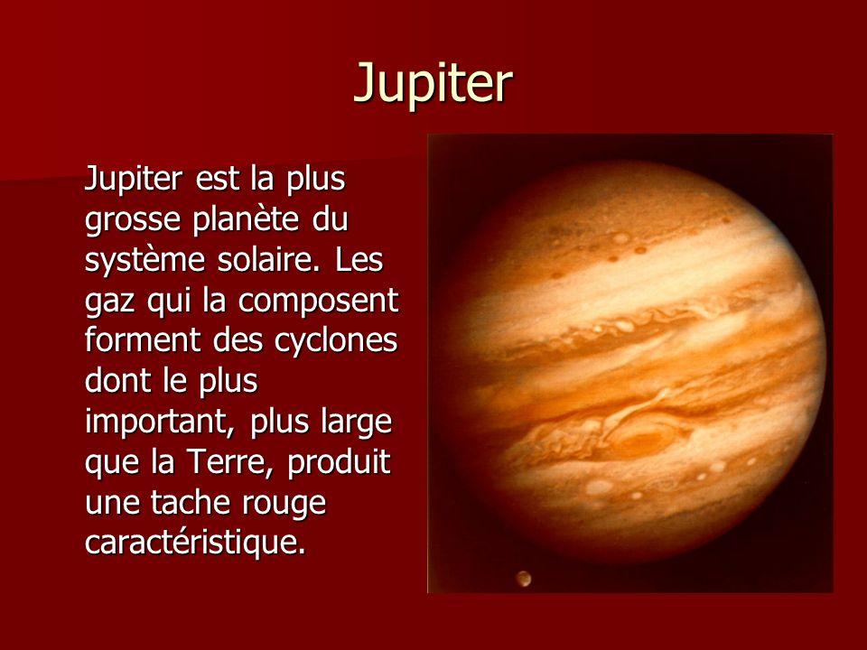 Jupiter Jupiter est la plus grosse planète du système solaire. Les gaz qui la composent forment des cyclones dont le plus important, plus large que la