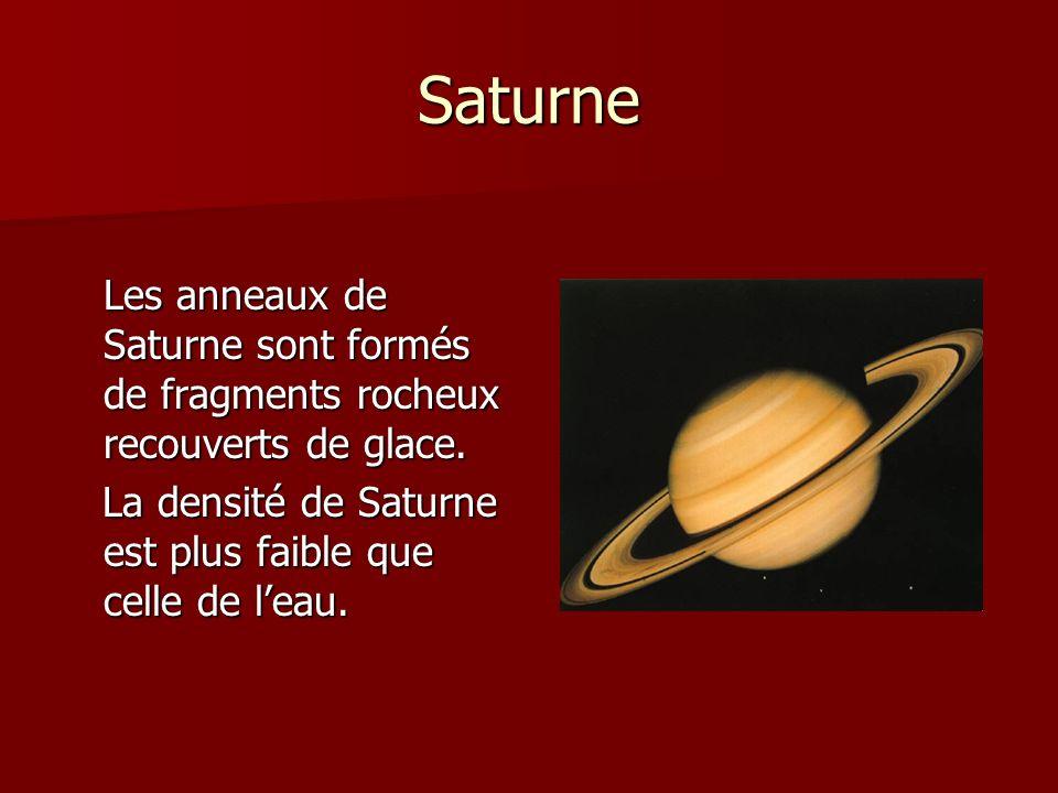Saturne Les anneaux de Saturne sont formés de fragments rocheux recouverts de glace. La densité de Saturne est plus faible que celle de leau. La densi