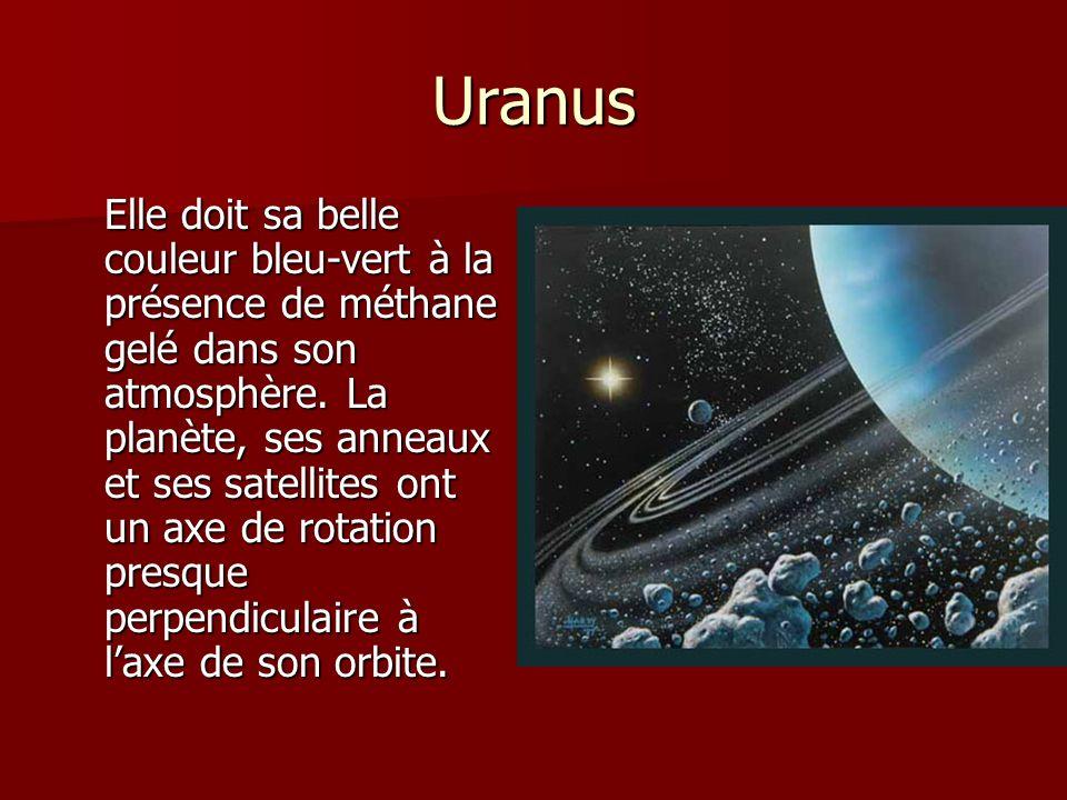 Uranus Elle doit sa belle couleur bleu-vert à la présence de méthane gelé dans son atmosphère. La planète, ses anneaux et ses satellites ont un axe de