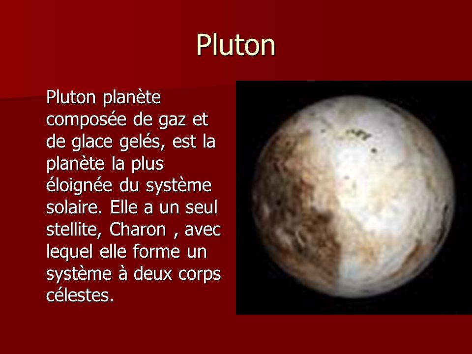 Pluton Pluton planète composée de gaz et de glace gelés, est la planète la plus éloignée du système solaire. Elle a un seul stellite, Charon, avec leq