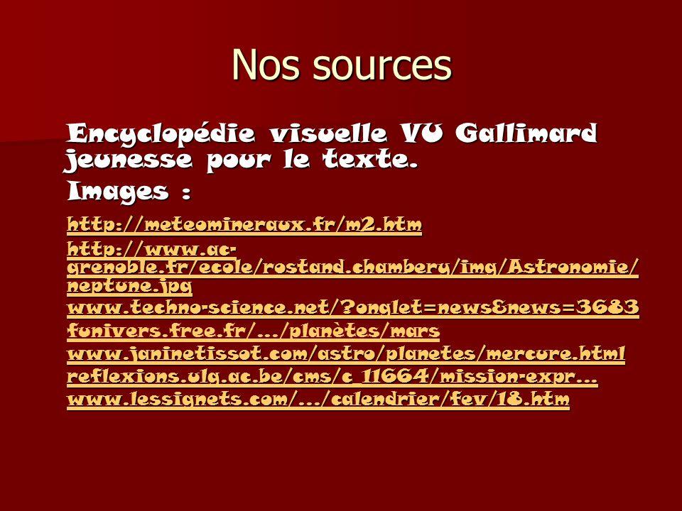 Nos sources Encyclopédie visuelle VU Gallimard jeunesse pour le texte. Images : http://meteomineraux.fr/m2.htm http://www.ac- grenoble.fr/ecole/rostan