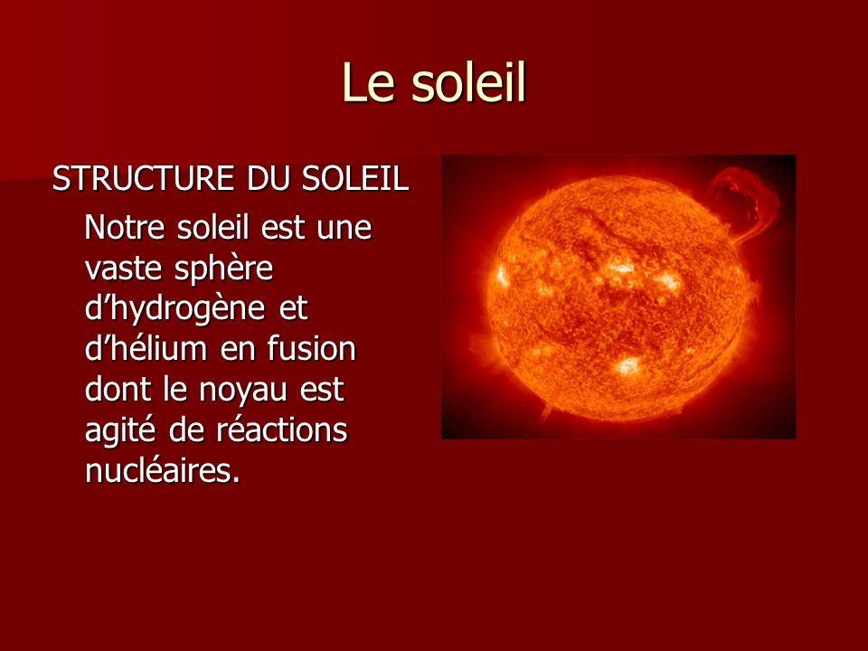 Le soleil STRUCTURE DU SOLEIL Notre soleil est une vaste sphère dhydrogène et dhélium en fusion dont le noyau est agité de réactions nucléaires. Notre
