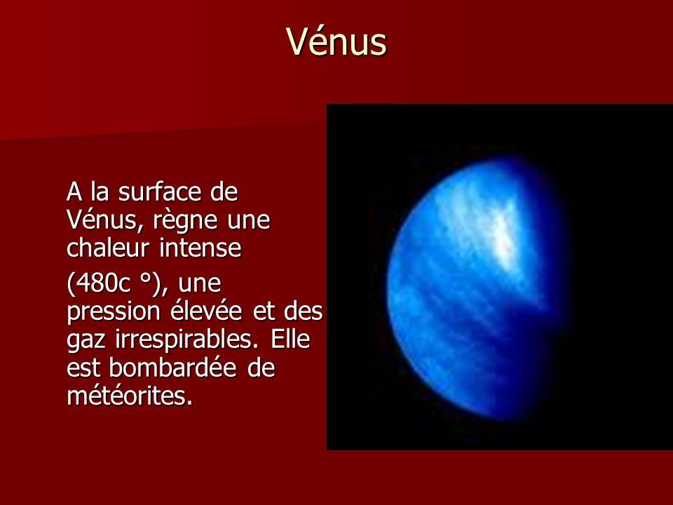 Vénus A la surface de Vénus, règne une chaleur intense (480c °), une pression élevée et des gaz irrespirables. Elle est bombardée de météorites.