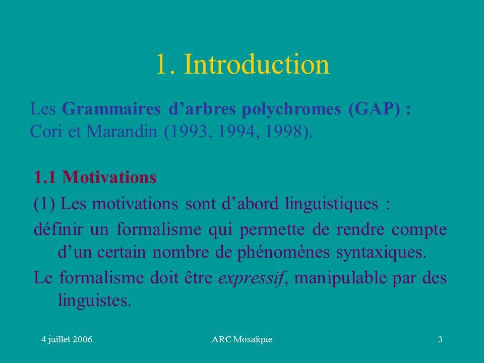 4 juillet 2006ARC Mosaïque4 (2) Le modèle est un véritable modèle formel, pas un langage.