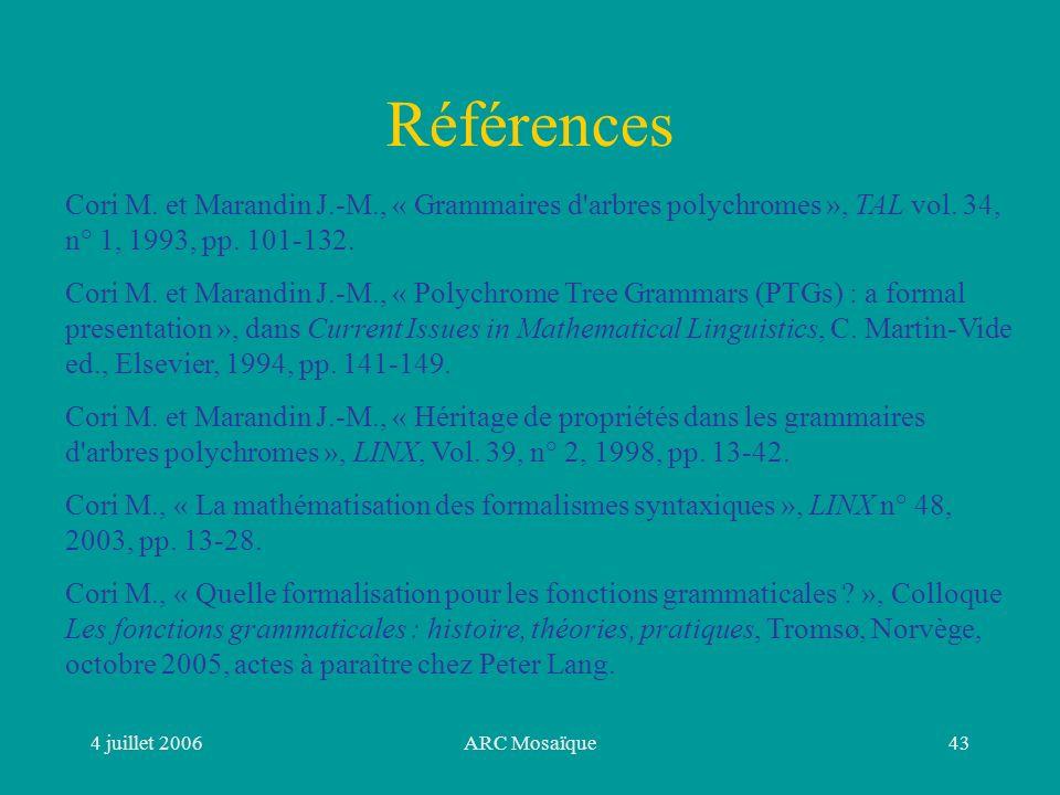 4 juillet 2006ARC Mosaïque43 Références Cori M.
