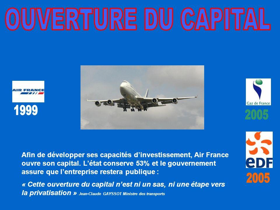 Afin de développer ses capacités dinvestissement, Air France ouvre son capital.