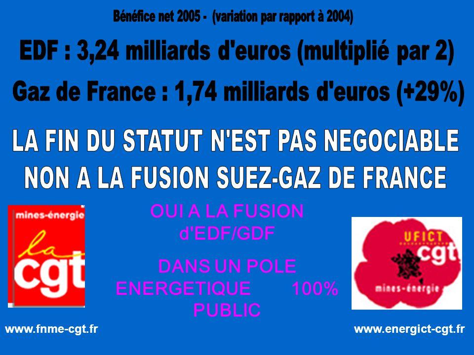www.fnme-cgt.fr www.energict-cgt.fr OUI A LA FUSION d EDF/GDF DANS UN POLE ENERGETIQUE 100% PUBLIC