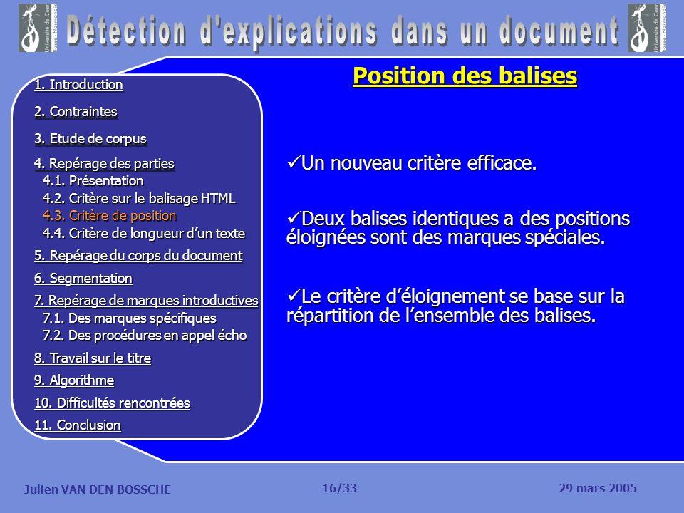 Julien VAN DEN BOSSCHE Position des balises Un nouveau critère efficace. Un nouveau critère efficace. Deux balises identiques a des positions éloignée