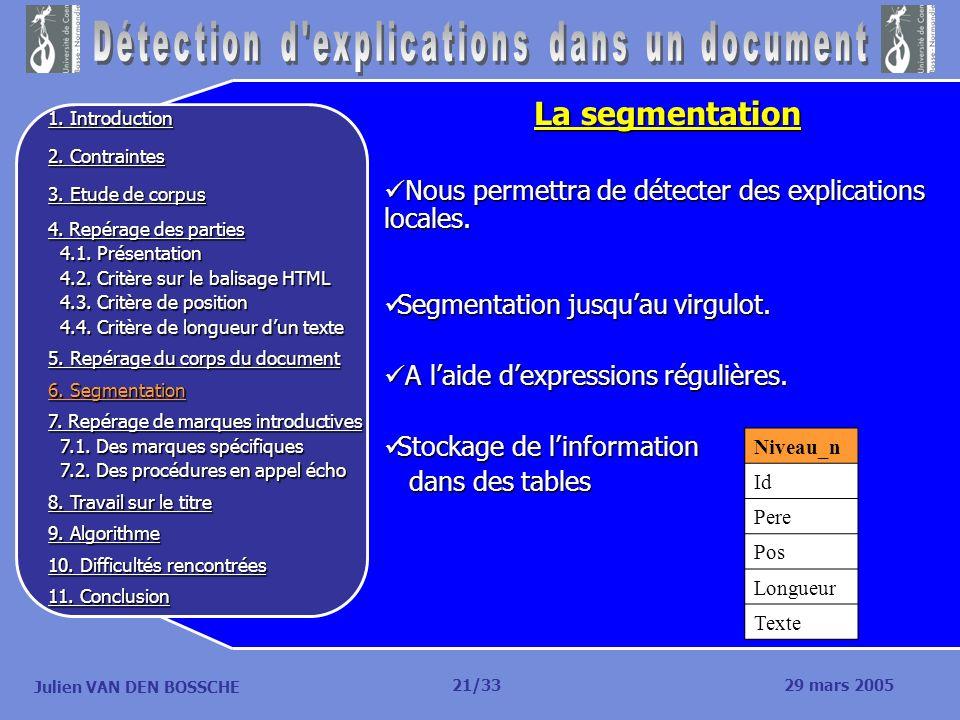 Julien VAN DEN BOSSCHE La segmentation Nous permettra de détecter des explications locales. Nous permettra de détecter des explications locales. Segme