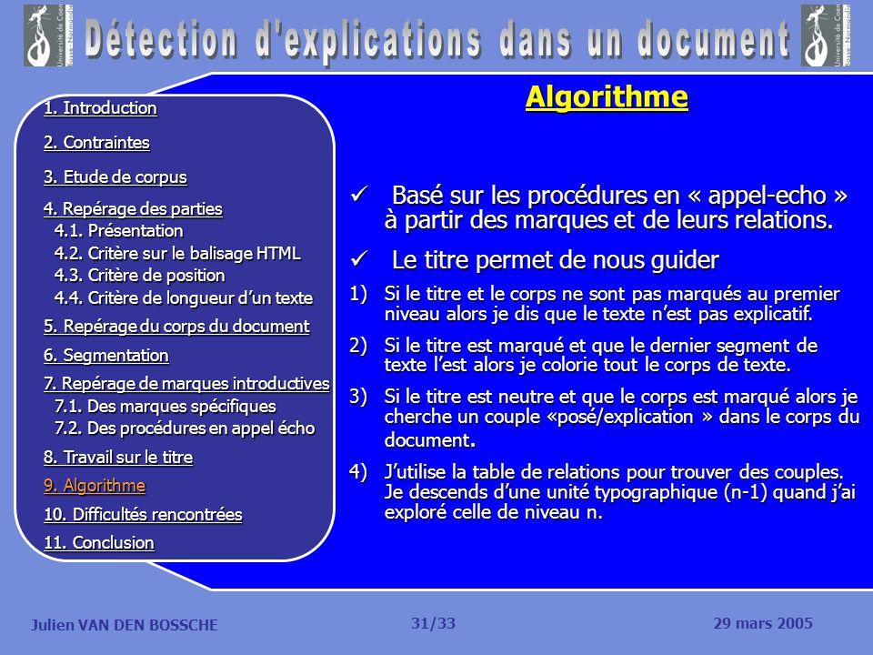 Julien VAN DEN BOSSCHE Algorithme Basé sur les procédures en « appel-echo » à partir des marques et de leurs relations. Basé sur les procédures en « a