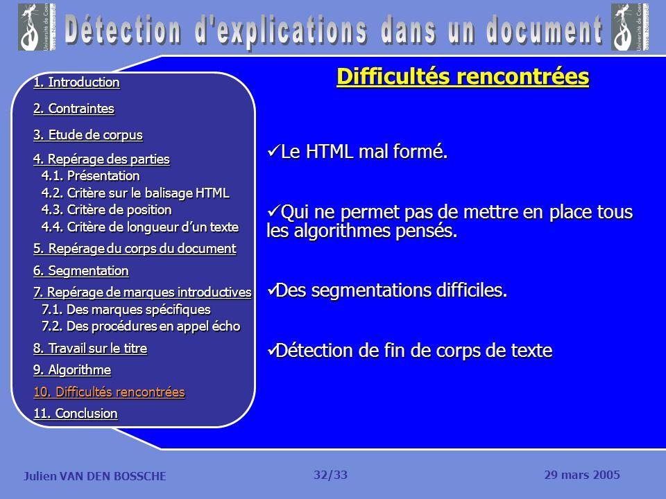 Julien VAN DEN BOSSCHE Difficultés rencontrées Le HTML mal formé. Le HTML mal formé. Qui ne permet pas de mettre en place tous les algorithmes pensés.