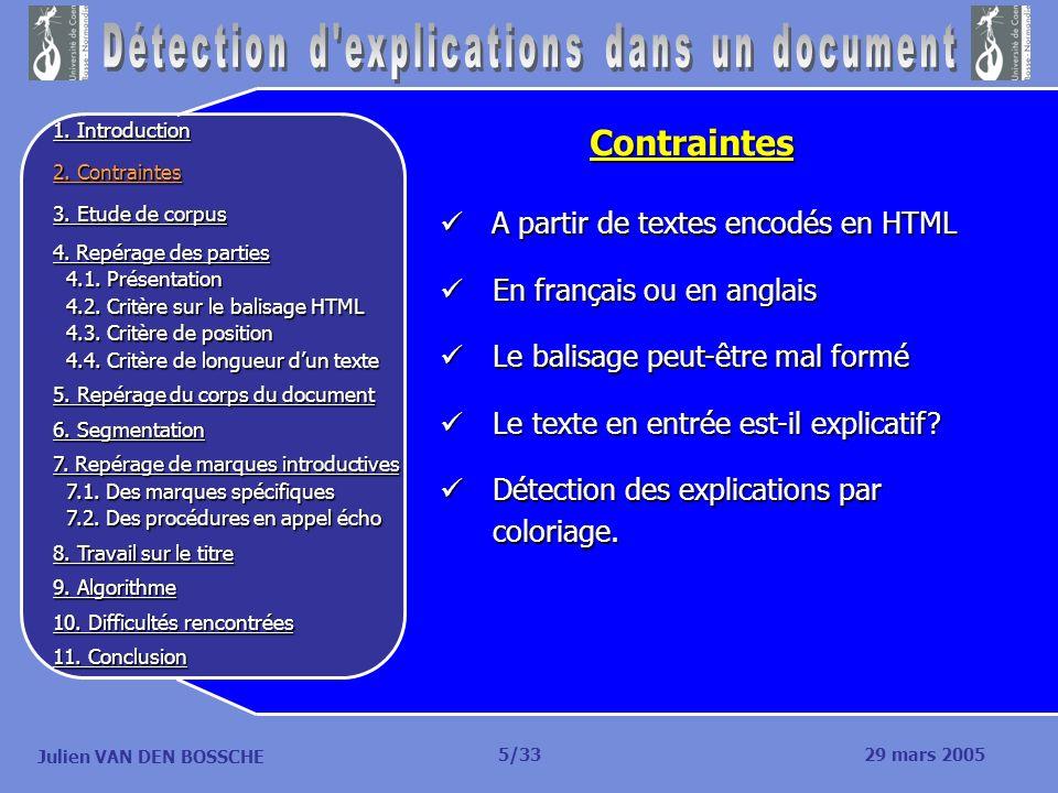 Julien VAN DEN BOSSCHE A partir de textes encodés en HTML A partir de textes encodés en HTML En français ou en anglais En français ou en anglais Le ba