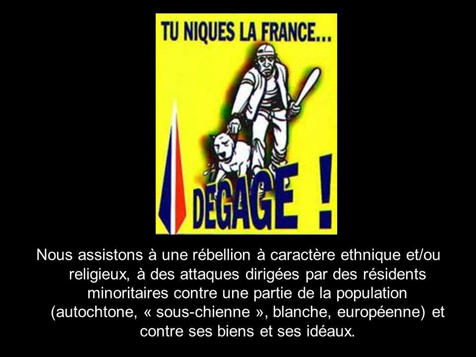 Et les faits nous démontrent que nous assistons à une offensive contre la République et contre les Français non seulement dun islam conquérant, mais dune partie de la population immigrée ou issue de limmigration qui rejette ouvertement notre culture, nos valeurs, et, aujourdhui, le droit du peuple français à vivre libre et en sécurité.