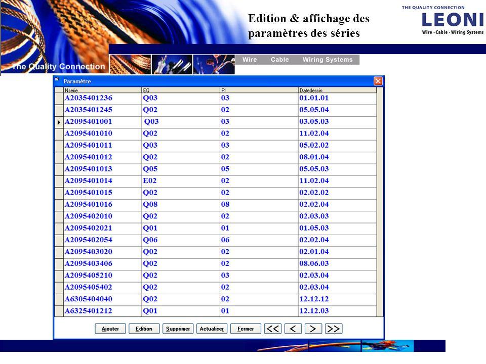 © LEONI Bordnetz-Systeme GmbH & Co. KG Edition & affichage des paramètres des séries