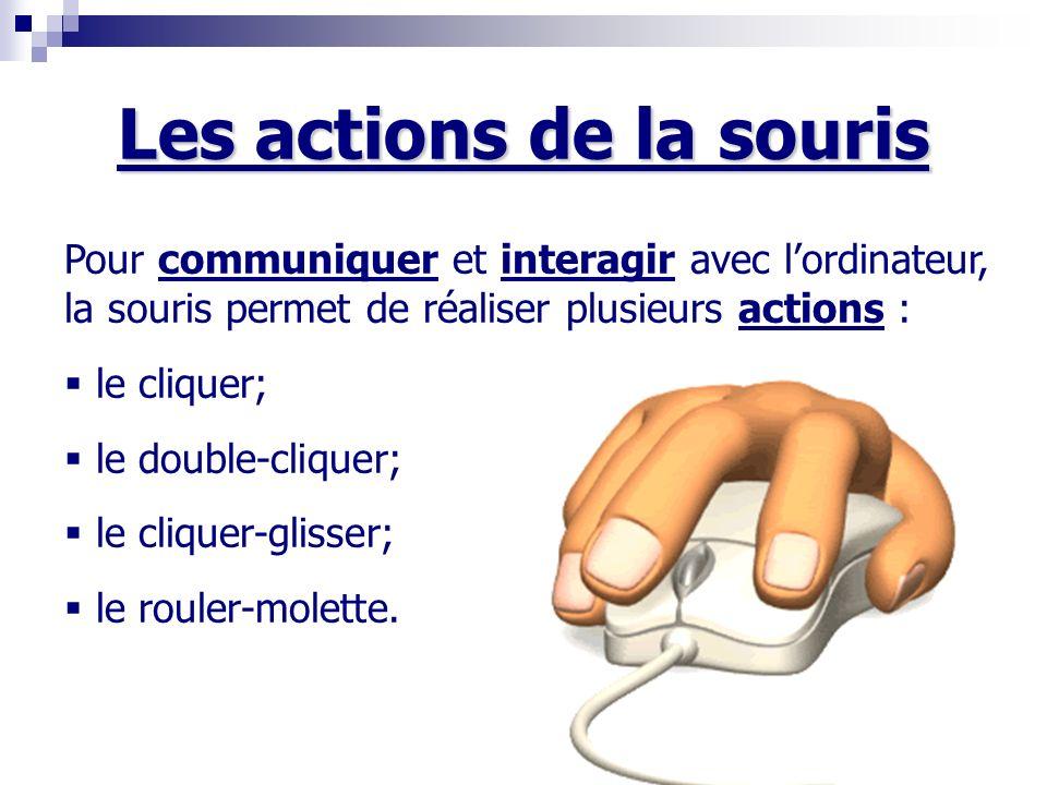 Les actions de la souris Pour communiquer et interagir avec lordinateur, la souris permet de réaliser plusieurs actions : le cliquer; le double-cliquer; le cliquer-glisser; le rouler-molette.