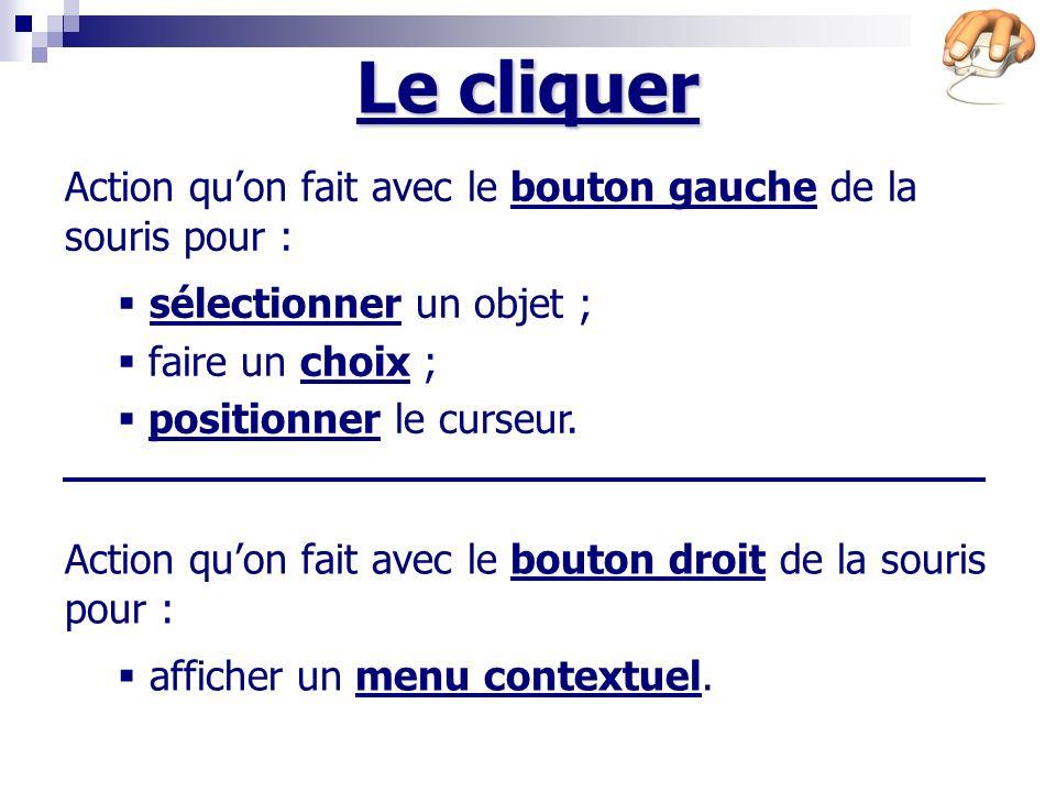 Le cliquer Action quon fait avec le bouton gauche de la souris pour : sélectionner un objet ; faire un choix ; positionner le curseur.