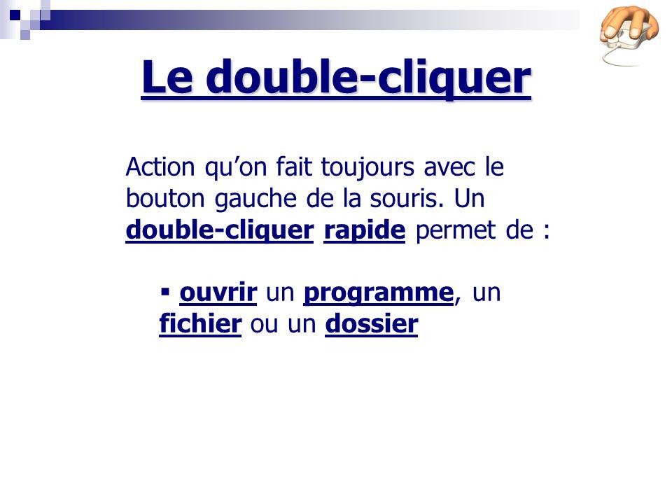 Le double-cliquer Action quon fait toujours avec le bouton gauche de la souris.