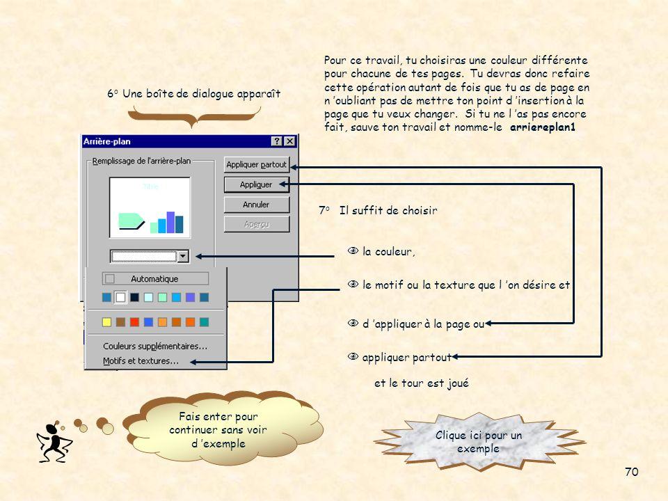 Pour changer la couleur de tes images, ou la couleur de ton texte, réfère-toi à tes notes de cours de Microsoft Word à la section «Insérer une image,