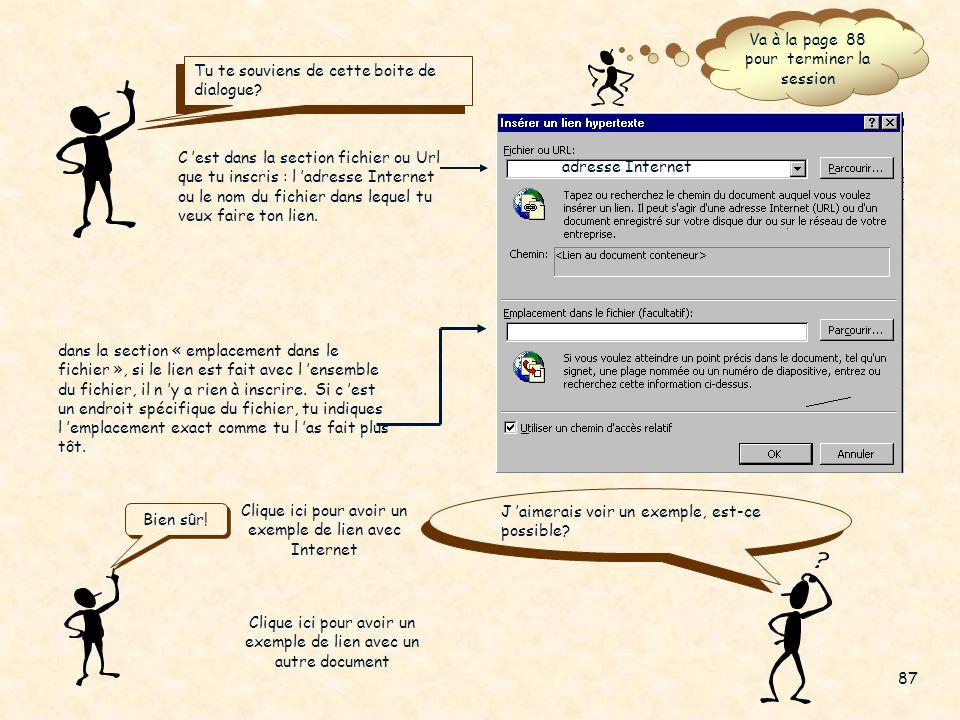 Maintenant créons un lien avec un autre document 2. Menu Insertion 3. Sélectionne « lien hypertexte… » Fais Enter 1. Comme pour les autres liens, séle