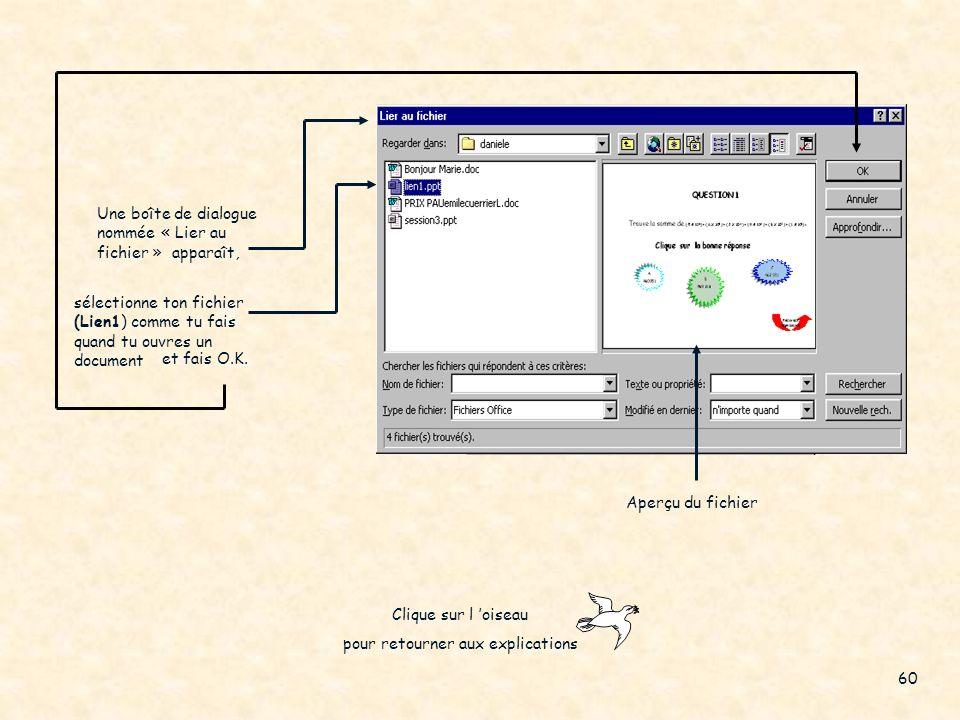 4. Tu auras cette boîte de dialogue 8. dans la section « emplacement dans le fichier », sélectionne le numéro de la diapositive où tu veux que le lien