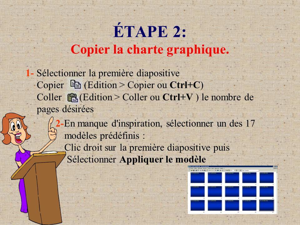 ÉTAPE 2: Copier la charte graphique. 1- Sélectionner la première diapositive Copier (Edition > Copier ou Ctrl+C) Coller (Edition > Coller ou Ctrl+V )