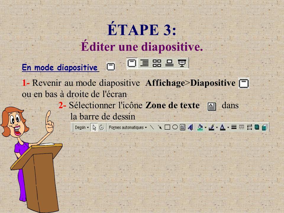ÉTAPE 3: Éditer une diapositive. En mode diapositive 1- Revenir au mode diapositive Affichage>Diapositive ou en bas à droite de l'écran 2- Sélectionne
