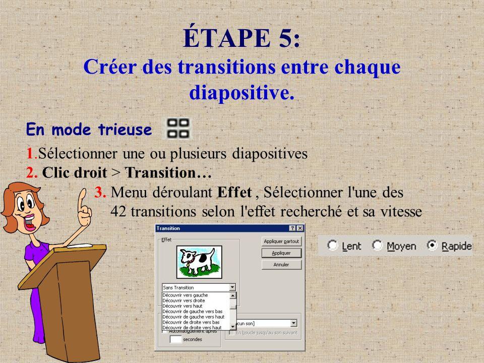 ÉTAPE 5: Créer des transitions entre chaque diapositive. En mode trieuse 1.Sélectionner une ou plusieurs diapositives 2. Clic droit > Transition… 3. M