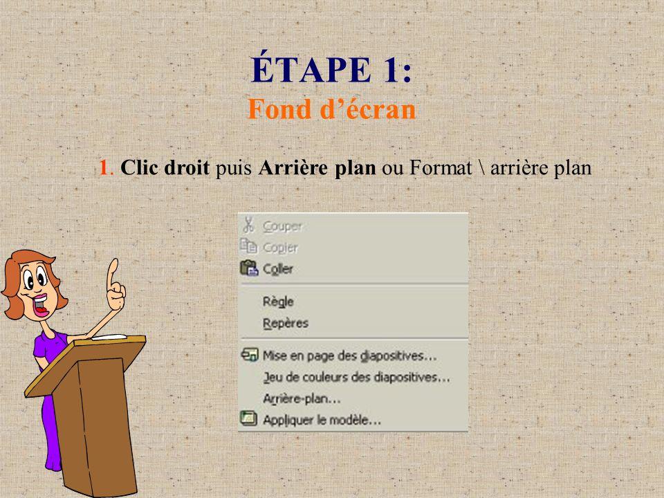 ÉTAPE 1: Fond décran 1. Clic droit puis Arrière plan ou Format \ arrière plan