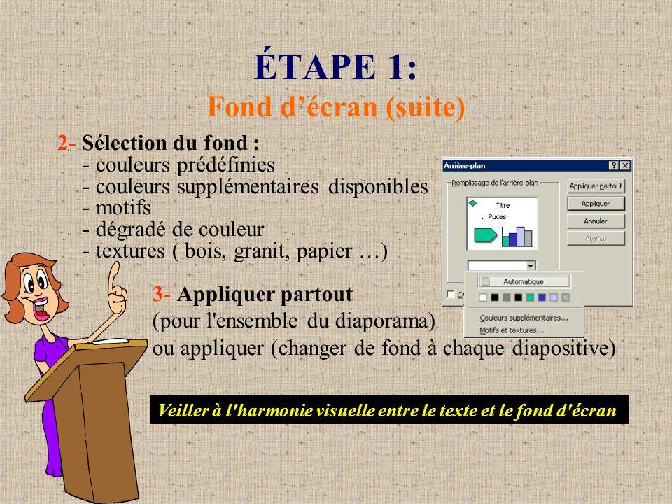 ÉTAPE 1: Fond décran (suite) 2- Sélection du fond : - couleurs prédéfinies - couleurs supplémentaires disponibles - motifs - dégradé de couleur - text