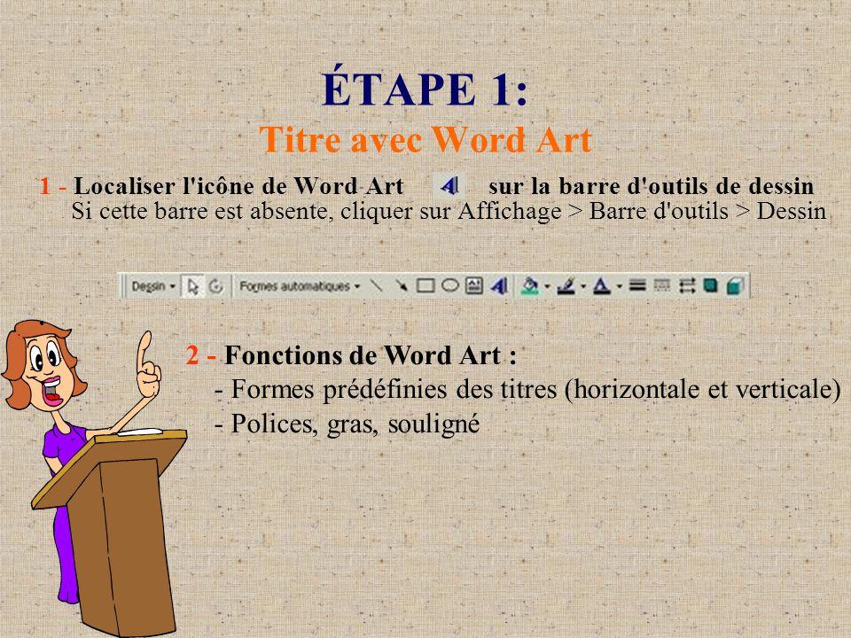 ÉTAPE 1: Titre avec Word Art (suite) 3 - Affichage>Barre d outils>Word Art En cliquant sur le titre, possibilité de : A.